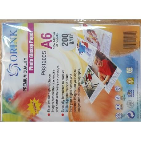 ORINK sjajni foto papir 200g A6 20 listova, P631200S20