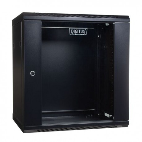 Nazidni ormar DIGITUS DN-WU19 19'' 12U 635/600/450mm, staklena vrata, crni
