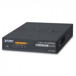 PLANET FSD-504HP 4-Port 10/100Mbps 802.3af/at PoE + 1-Port 10/100Mbps Desktop Switch (60 Watts)