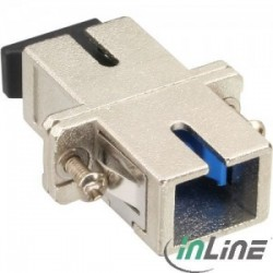 InLine® Fiber optical adaptor metal, simplex SC/SC, SM, ceramic sleeve, with flange