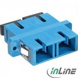 InLine® Fiber optical adapter, duplex SC/SC, SM, blue, ceramic sleeve, with flange