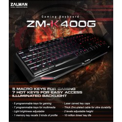 ZALMAN ZM-K400G Gaming Keyboard with 5+7 programmable keys