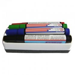Set 4 markera različitih boja + brisač (spužva) za bijelu tablu